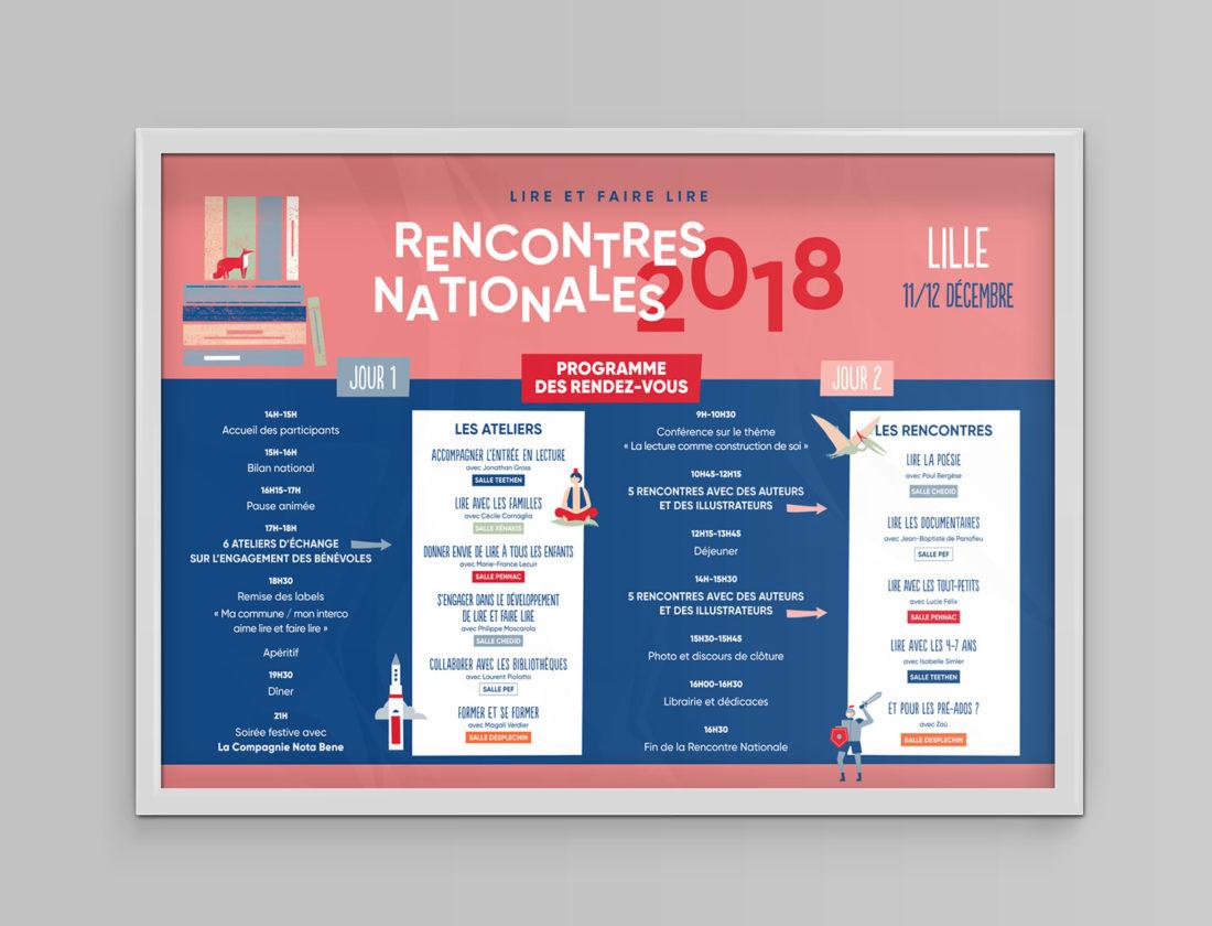 Lire et faire lire - Identité visuelle Rencontres nationales 2019 - Affiche