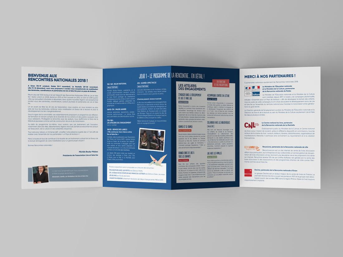 Lire et faire lire - Identité visuelle Rencontres nationales 2019 - Programme dépliant