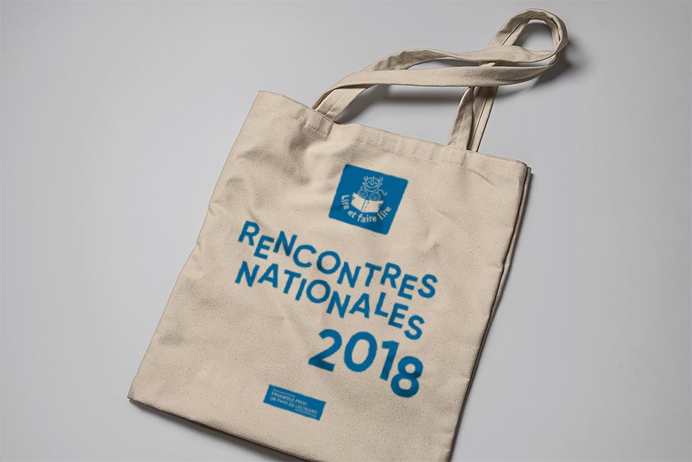 Lire et faire lire - Identité visuelle Rencontres nationales 2019 - Totebag